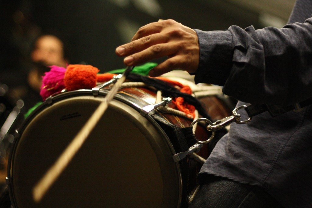 Sunny Jain's famous Dhol at WKCR - Photo by David Ellenbogen