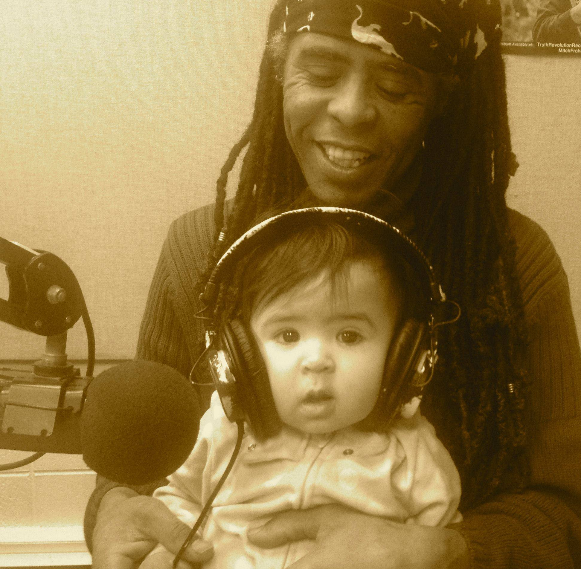 Hakmoun at WKCR, with his daughter Aya.
